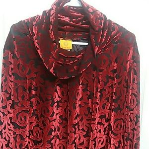Ruby Rd. Tops - Red, crushed velvet burnout, cowl-neck top NWT